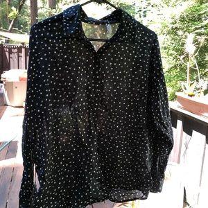 Billabong star print button up blouse